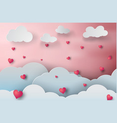 paper art of rainny love cloudscape with heart vector image