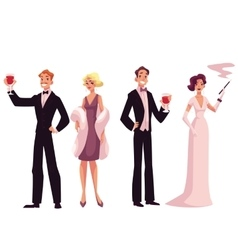 People in 1920s style cocktail dresses at a vector