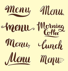 Set of menu lettering vector image