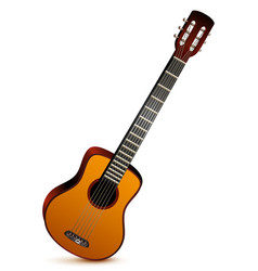 Six stringed acoustic guitar musical instrument vector