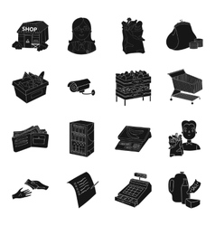 Supermarket set icons in black style Big vector image