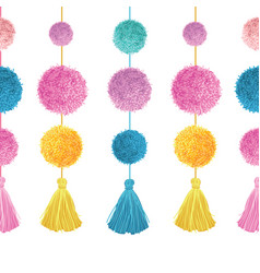 Vibrant colorful birthday party pom poms vector
