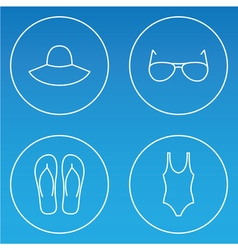 womens beachwear outline icon set vector image vector image