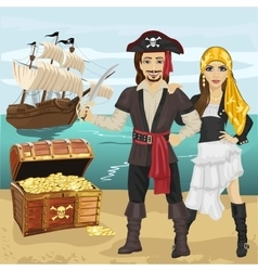 Young man and woman in pirate costume vector