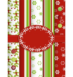 Christmas scrap book background with ribbon and bo vector image
