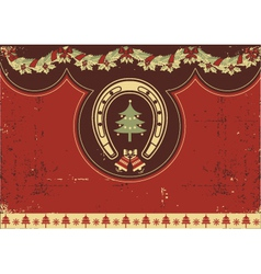 Vintage red Christmas background with horseshoe vector image