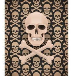 Huge skull on seamless dark pattern vector