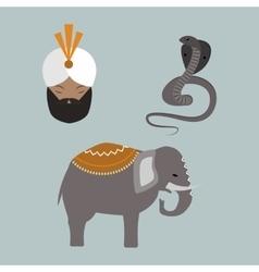 India animals and budda icons vector