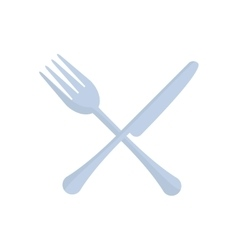 crossed fork and knife utensil kitchen vector image