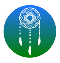 Dream catcher sign  white icon in bluish vector