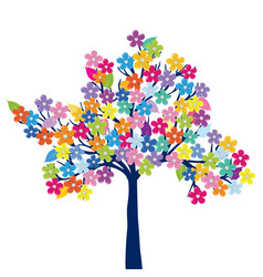 multicolored tree on white background vector image