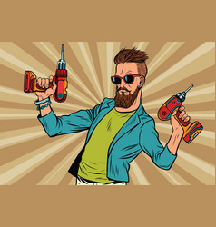 Hipster repairman with a drill vector