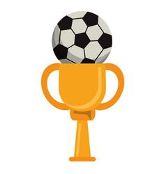 trophy soccer ball winner vector image