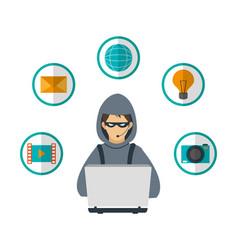Hacker cyber security system design vector