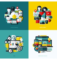 Flat icons set of cloud storage social media seo vector