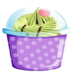 A lavender cupcake container vector