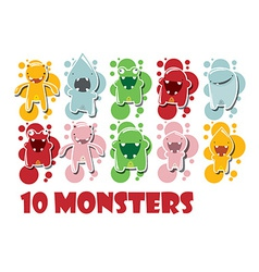 Collection of cute colorful monsters vector