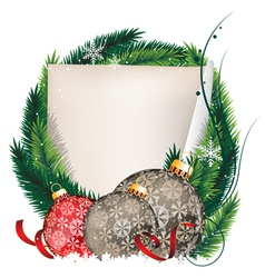 Pine tree wreath with christmas balls and sheet of vector
