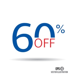 60 sale Price off icon with 60 percent discount vector image