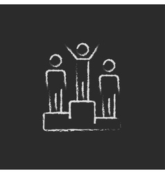 Winners on the podium icon drawn in chalk vector