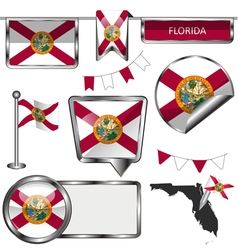Glossy icons with floridian flag vector