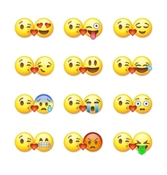 Set of emoticons emoji isolated on white vector