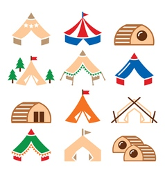 Glamping luxurious camping tents and bambu houses vector image