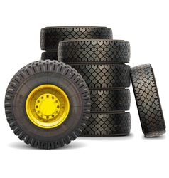 Old tractor wheel set vector
