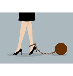 Chained business woman vector image