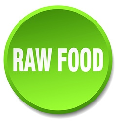 Raw food green round flat isolated push button vector
