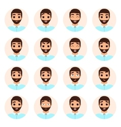 Set of man emotions icons vector