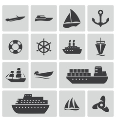 black ship and boat icons set vector image vector image
