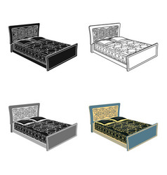 blue family bedbed with black painted covers and vector image