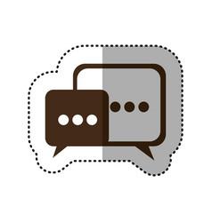 Brown square chat bubbles icon vector
