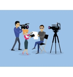 Camera Crew Team People Group Flat Style vector image vector image