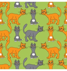 Cat gray and red vector image vector image