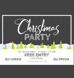 christmas festival and party template snow tree vector image