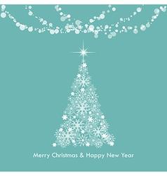 Christmas greeting light snowflake tree vector image