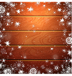 christmas wood background with snowflake vector image vector image