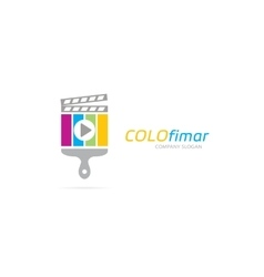 clapperboard and brush logo combination vector image vector image