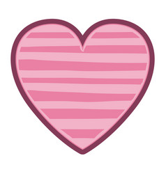 color pink heart shape with lines pattern vector image