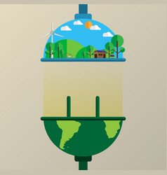 Connecting the earth to nature flat line style vector