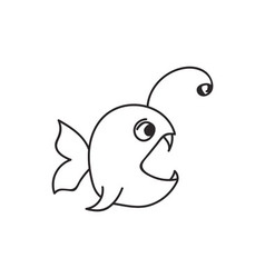 Doodle fish animal icon vector image vector image