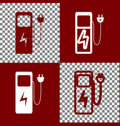 Electric car charging station sign bordo vector