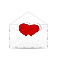 Envelope with valentine red heart vector