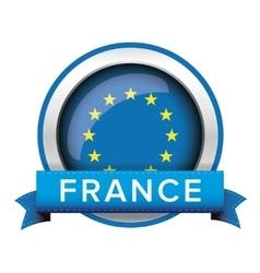 Eu flag button with france ribbon vector