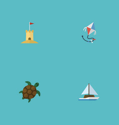 flat icons sailboard castle fly and other vector image vector image