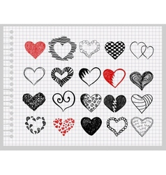 hand-drawn hearts vector image vector image