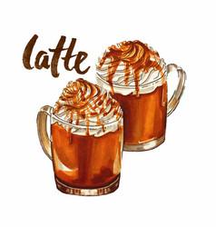 Hand drawn watercolor caramel latte coffee vector
