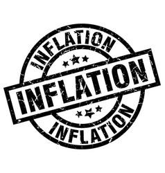 Inflation round grunge black stamp vector